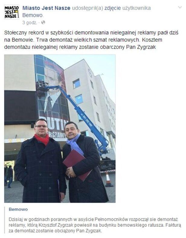 Miasto jest Nasze szydzi z ratusza screenshot Facebook