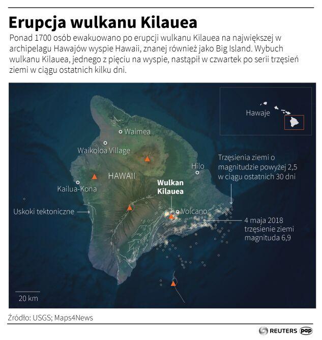 Erupcja wulkanu Kilauea (Adam Ziemienowicz/PAP/Reuters)