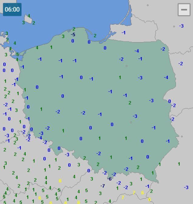 Temperatura w Polsce 15 kwietnia o godzinie 6 (za wetteronline.de)