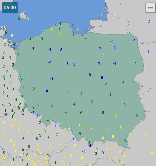 Temperatura w Polsce 6 października o godzinie 6 (wetteronline.de)