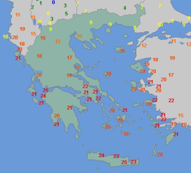 Temperatura maksymalna w Grecji 10 stycznia (wetteronline.de)
