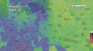 Porywy wiatru w ciągu najbliższych dni (Ventusky.com)